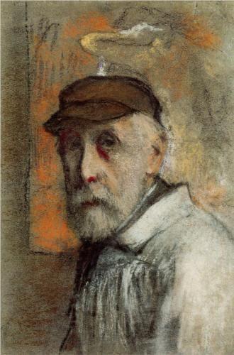 Self-Portrait Degas Edgar Degas, eigentlich Hilaire Germain Edgar de Gas (1834-1917), war ein französischer Maler und Bildhauer. Er wird häufig zu den Impressionisten gezählt, mit denen er gemeinsam ausstellte. Seine Gemälde unterscheiden sich jedoch von denen des Impressionismus unter anderem durch die exakte Linienführung und die klar strukturierte Bildkomposition.