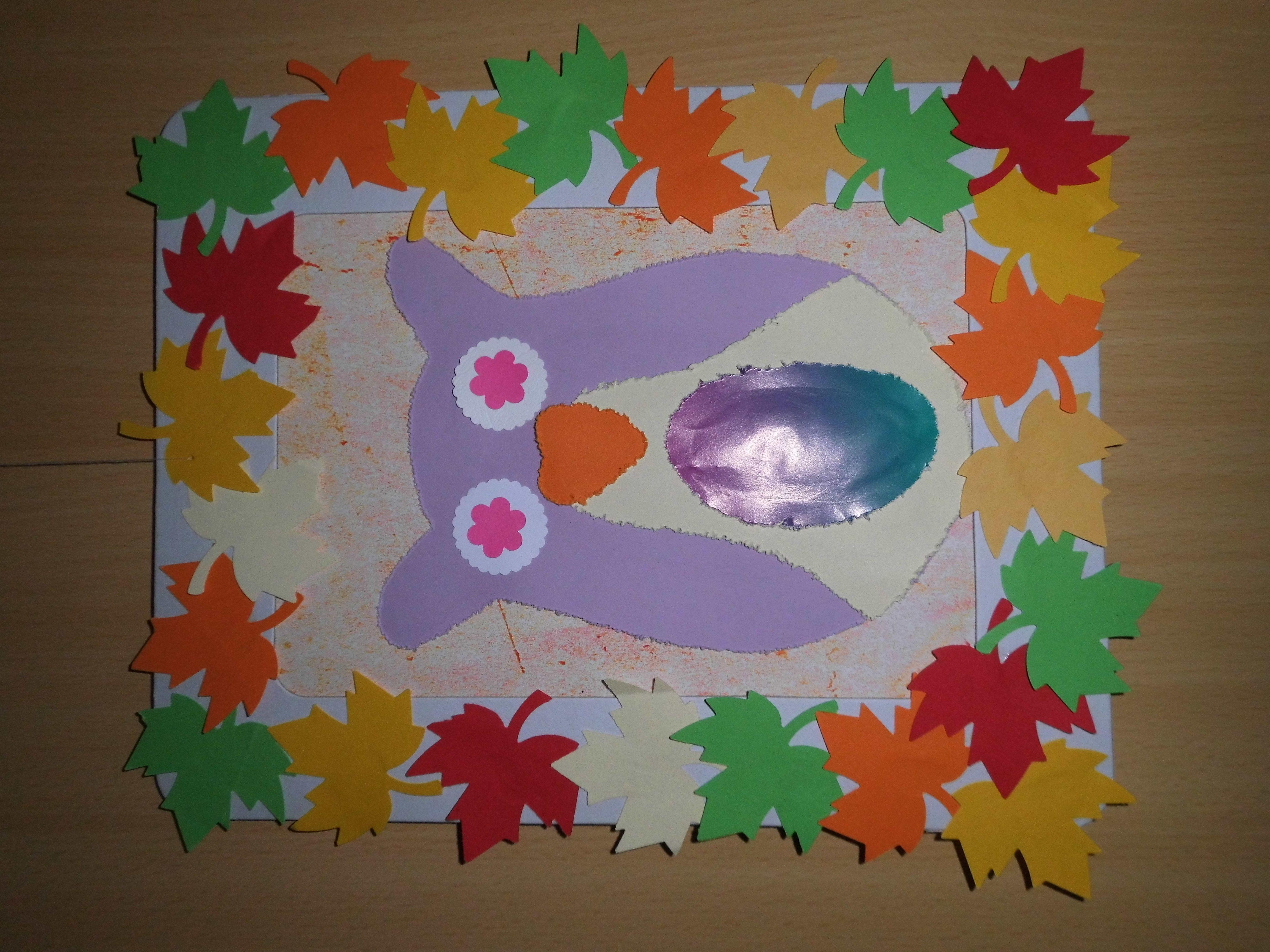 Papprahmen mit Stanzblättern bekleben, Eule und einzelne Teile ...