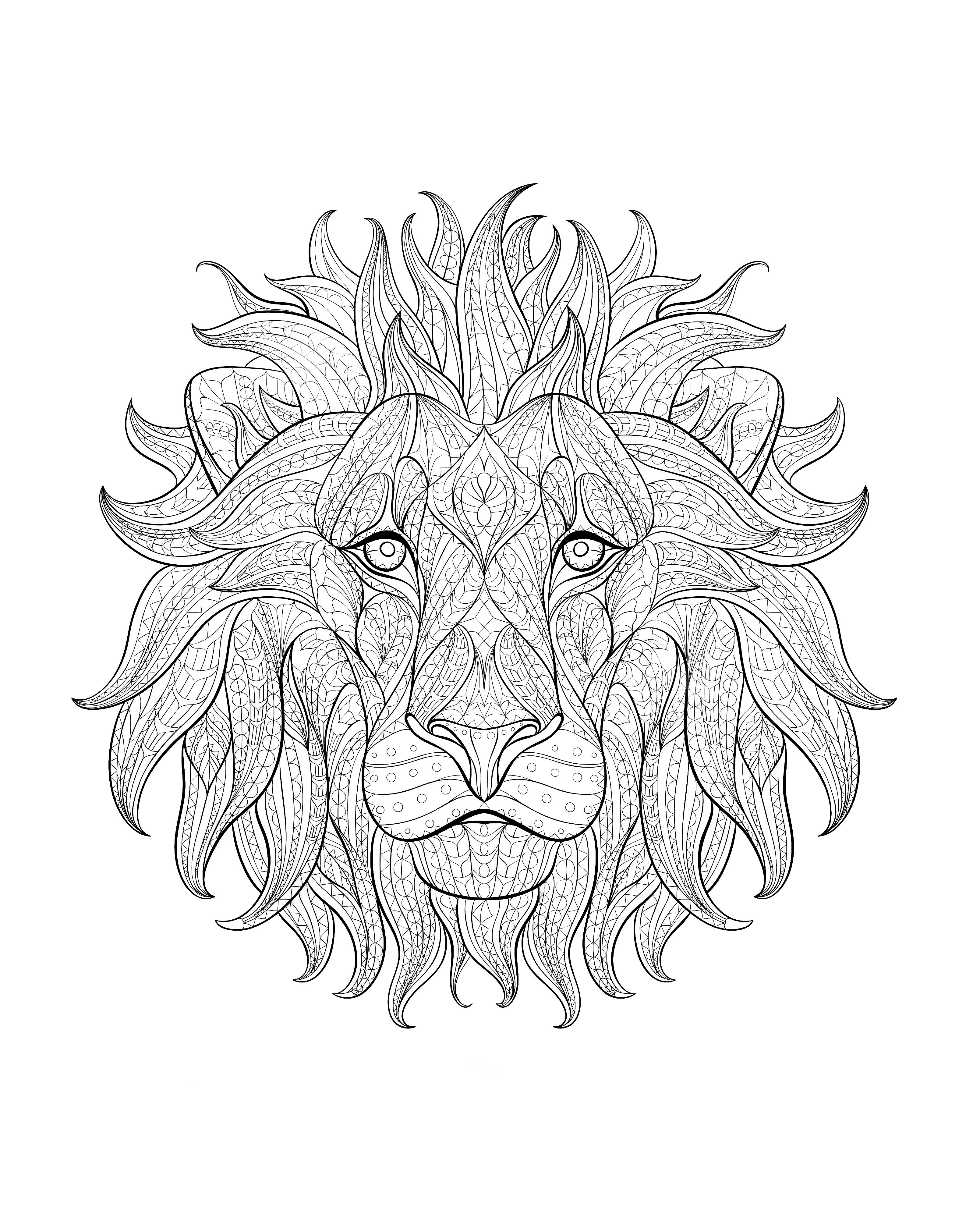 Free Coloring Page Coloring Adult Africa Lion Head 3 Impressive