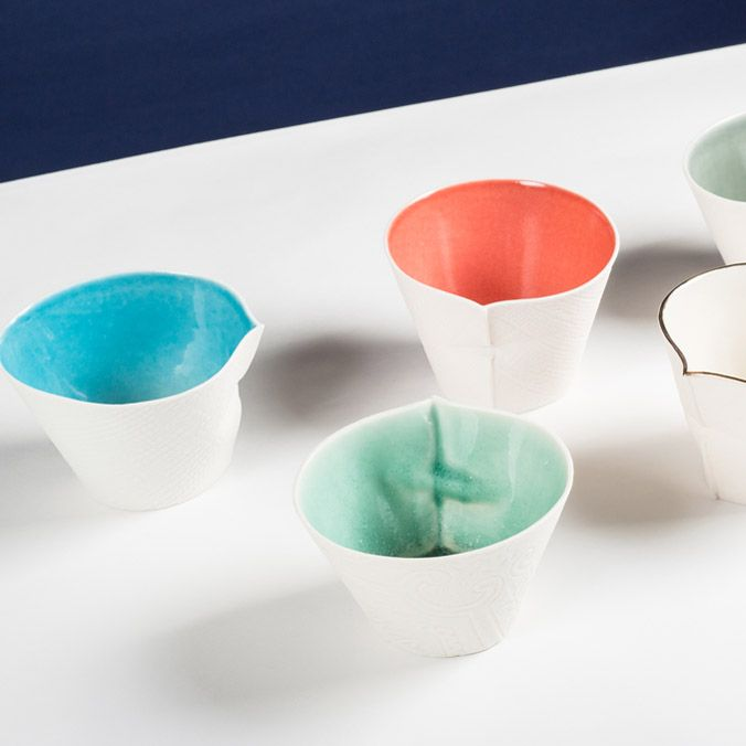 Louise Hall Bashful Bowls Porcelain With Coloured Glazes Porcelain Art Porcelain Ceramic Artists