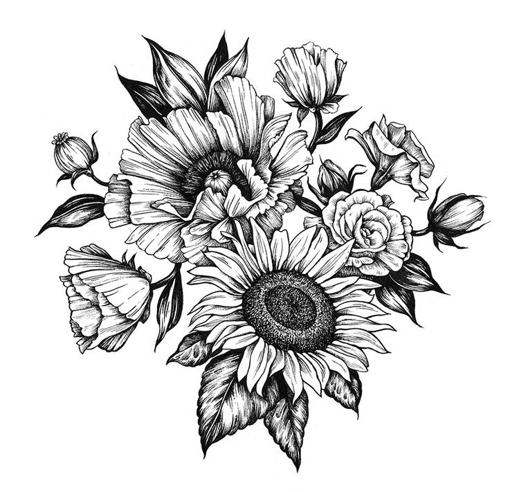 Poppy and sunflower, commissioned. 2015 | Tattoos ...