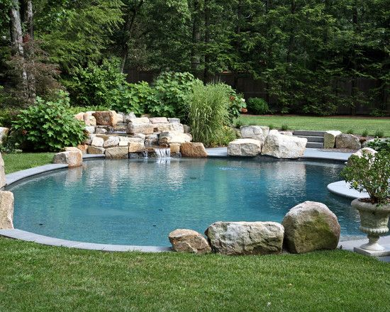 Simple Pool With Natural Stone Waterfall Feature Simple Pool