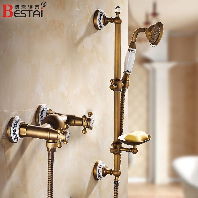 European Antique Shower Faucet Brass Porcelain & Crystal Bath Tub ...