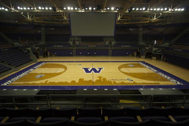 Uw Adds Seattle Skyline Design To Hec Ed Basketball Court Washington Huskies Basketball Basketball Court Flooring College Basketball Uniforms