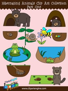 This Collection Includes A Set Of 10 Royalty Free Clip Art Graphics It Comes With Black And White Line Art Files O Animals That Hibernate Hibernation Clip Art