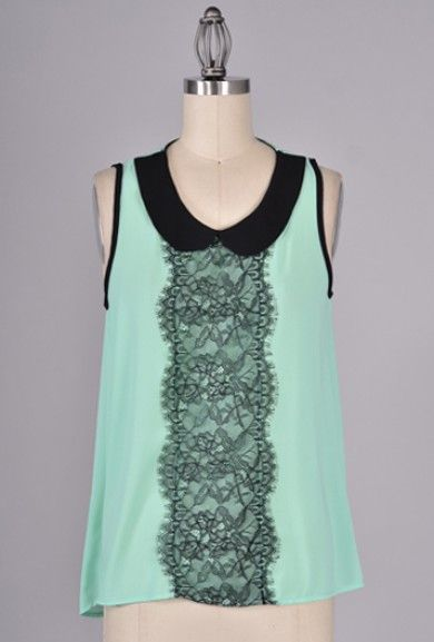Blouse - Instrumental Harmony Sleeveless Peter Pan Collar Lace Inset Blouse in Mint/Black