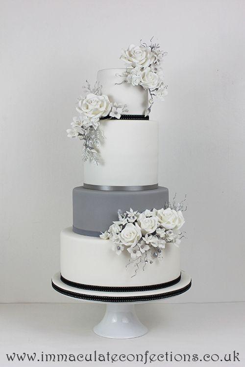 White And Grey Floral Wedding Cake Grey Wedding Wedding Cakes