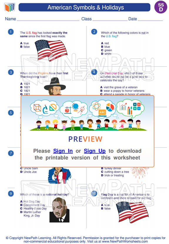 Try out our Worksheets about American Symbols & Holidays here