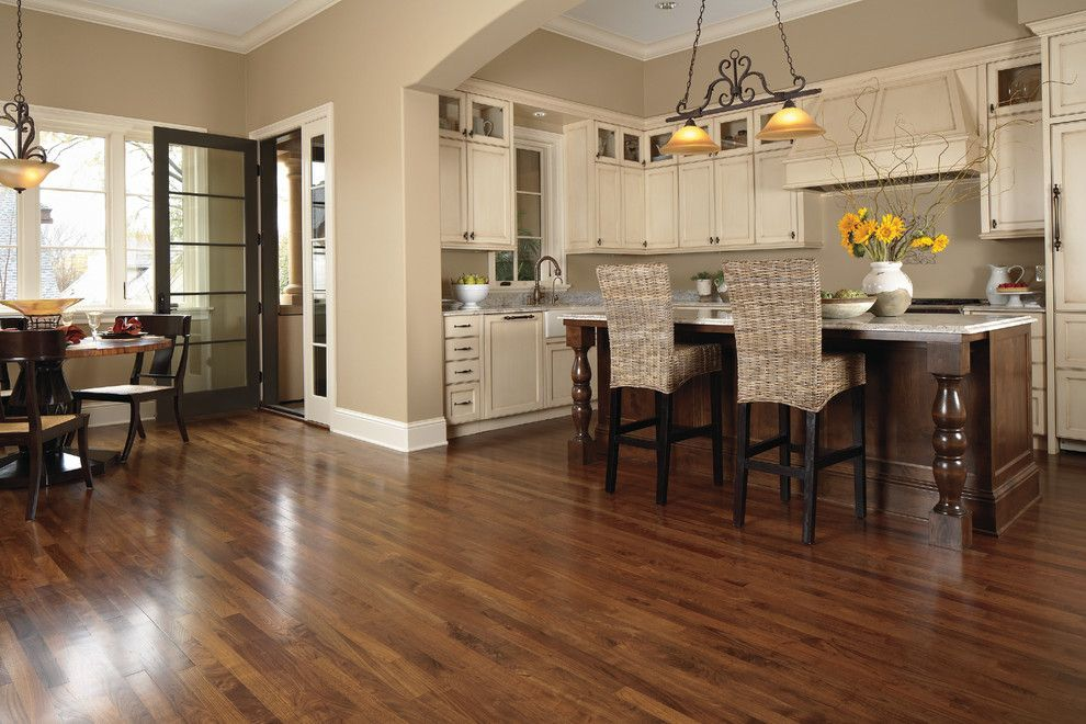 Bedroom color schemes for a transitional kitchen with a for Best vinyl flooring for kitchens