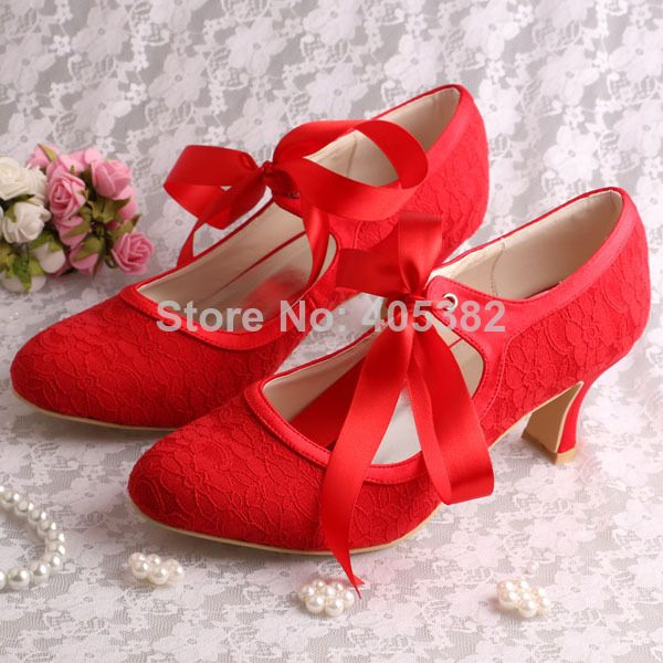 Heels Laces Quality Wedding Shoes Lace Directly From China Las With Suppliers Custom Made Red Lady Low Heel Dress