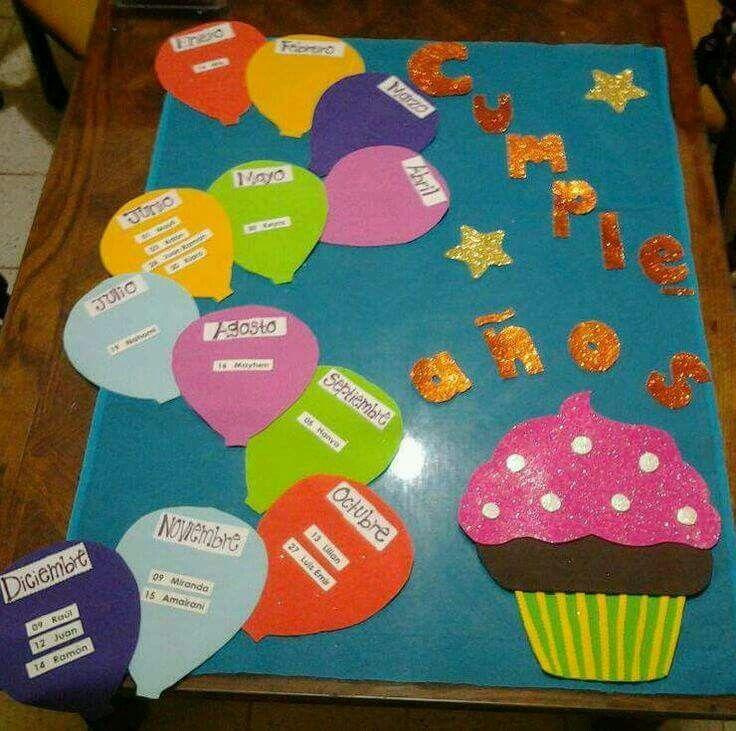 Cumplea os alumnos decoraci n aula cumplea os for Decoracion jardin infantes