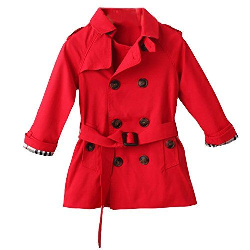 LSERVER Kids Boys Trench Coat Toddler Girls Windbreaker Autumn Spring Jacket  Children Outwear British Coats Red 26T     Check out this great product. 24d317a8ae25