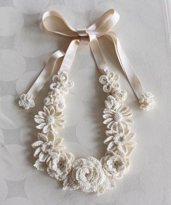 Crocheted Flower Necklace Pinterest