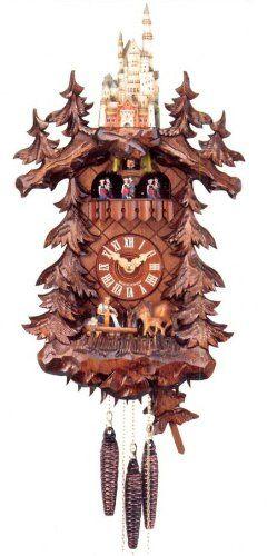 Amazon Com Original Eight Day Movement Cuckoo Clock With Neuschwanstein Castle 22 Inch Reloj De Cuco Reloj