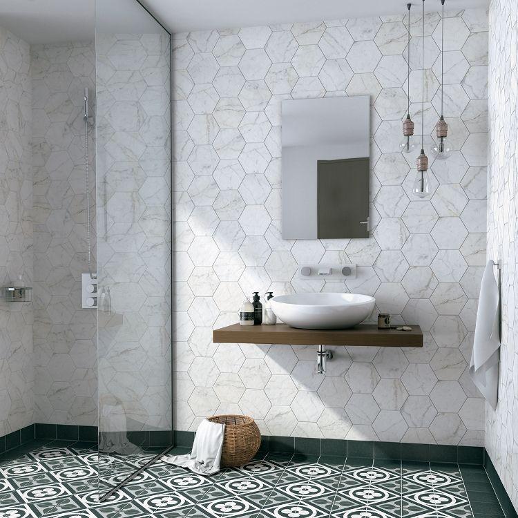 Hexagon Wit Mat Marmerlook Wand En Vloertegel 17 5 X 20 Cm Per M2 Vloertegels Tegels Tegels In De Badkamers
