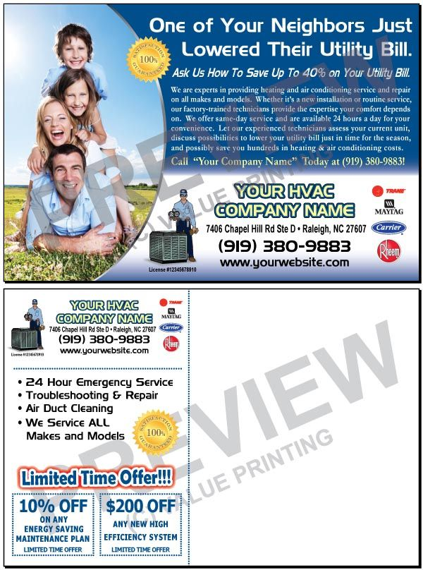 Hvac Spring Air Conditioning Tune Up Sales Postcard 2 Value Printing Air Conditioning Services Hvac Hvac Company