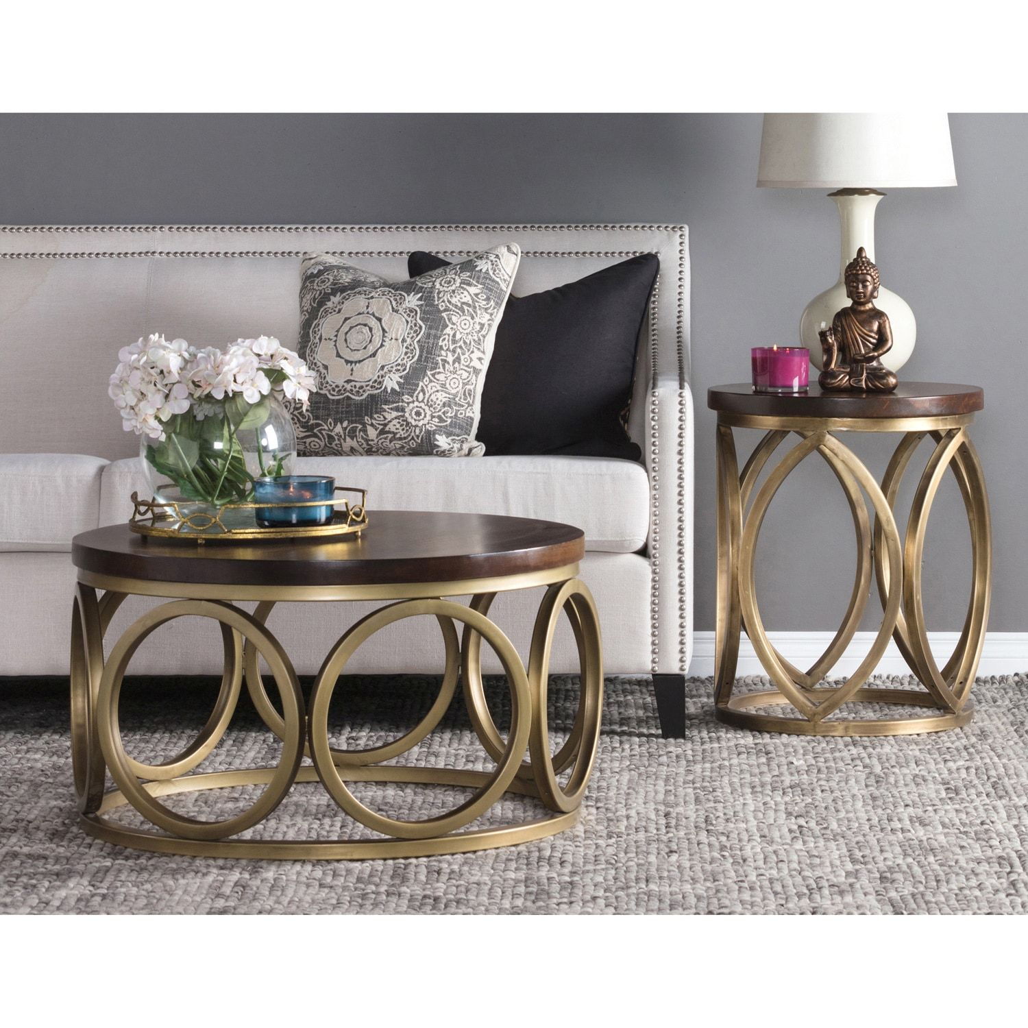 Gemma 32 Inch Wood Round Coffee Table By Kosas Home Coffee Table