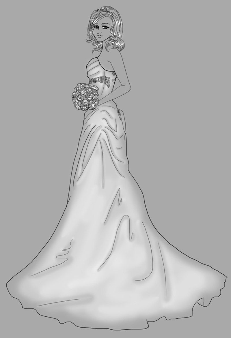 sketch wedding dress drawing custom art commission by kayadesign ...