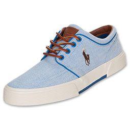 Men's Polo Ralph Lauren Faxon Low Casual Shoes | FinishLine.com |  Blue/Pacific