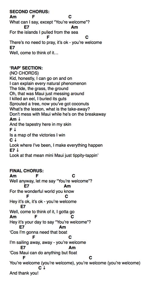 moana you\'re welcome PAGE 2 | ukulele | Pinterest | Ukulele songs ...