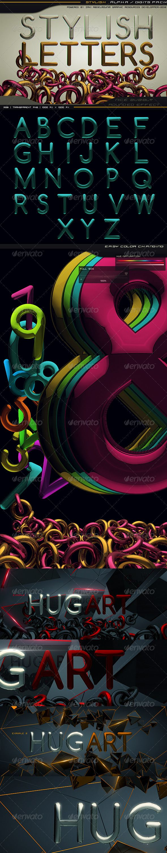 3D Text Graphics  Renders  Stylish Letters Set 3D Text Graphics  Renders  Stylish Letters Set  3D Text Graphics  Renders by Creatiflux