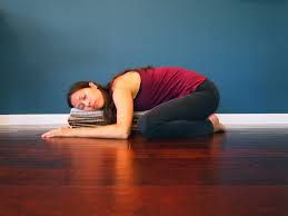 restorative yoga child's pose easy supported sagittal