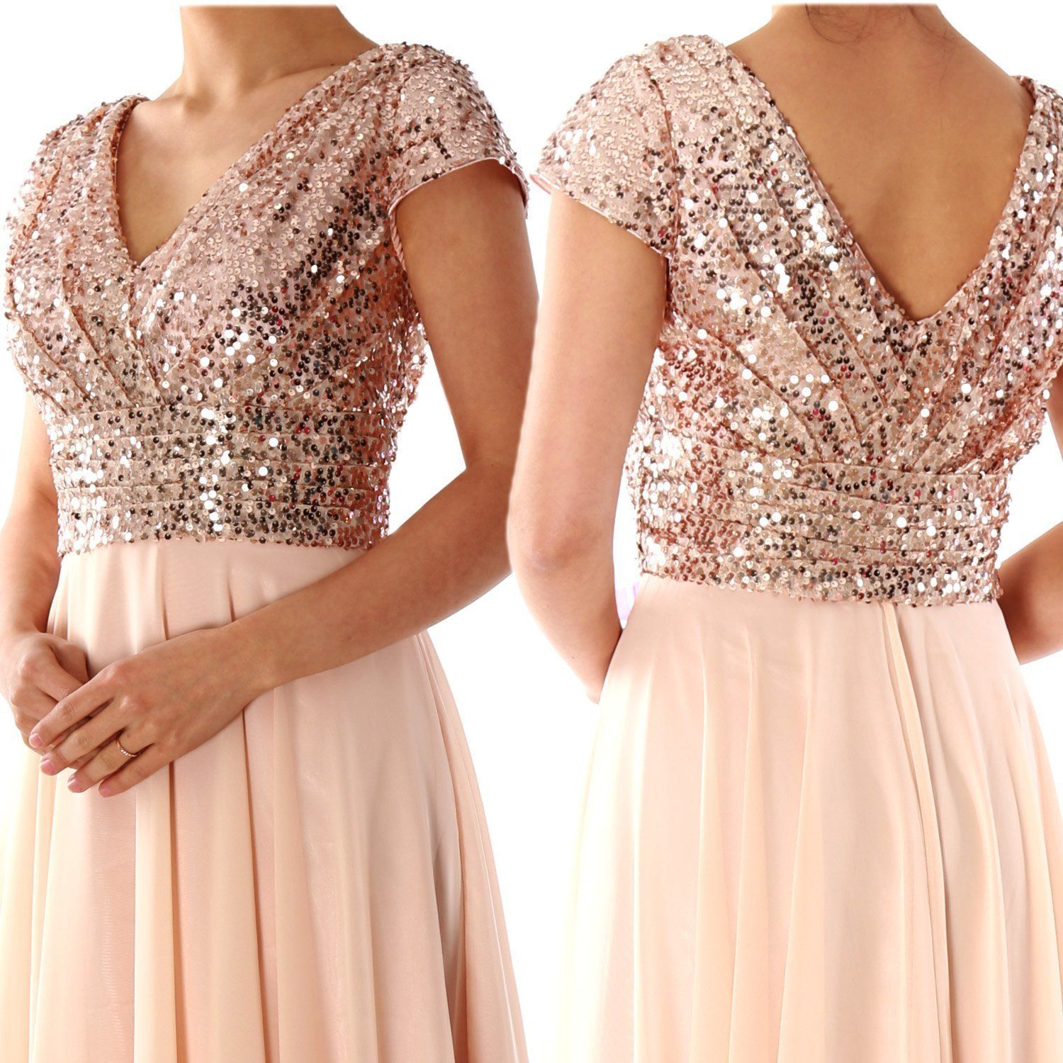 3c550fd78e5 Dannifore Rose Gold Cap Sleeve Empire Waist Formal Evening Gowns Long Women  Bridesmaid Dress