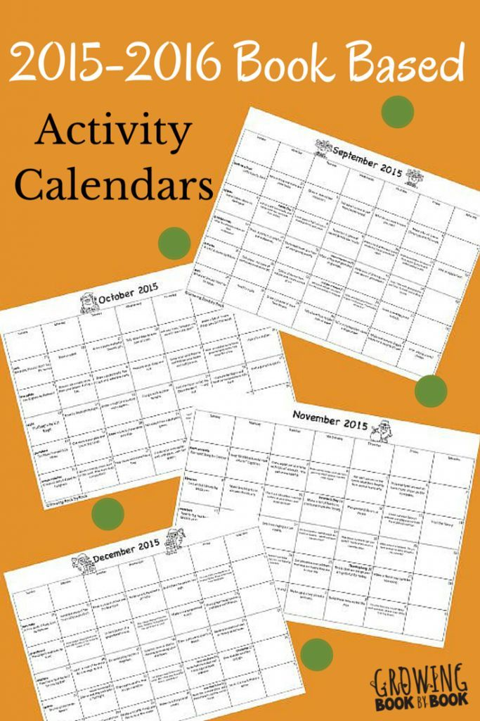 Book Based Activity Calendars  Homework Calendar