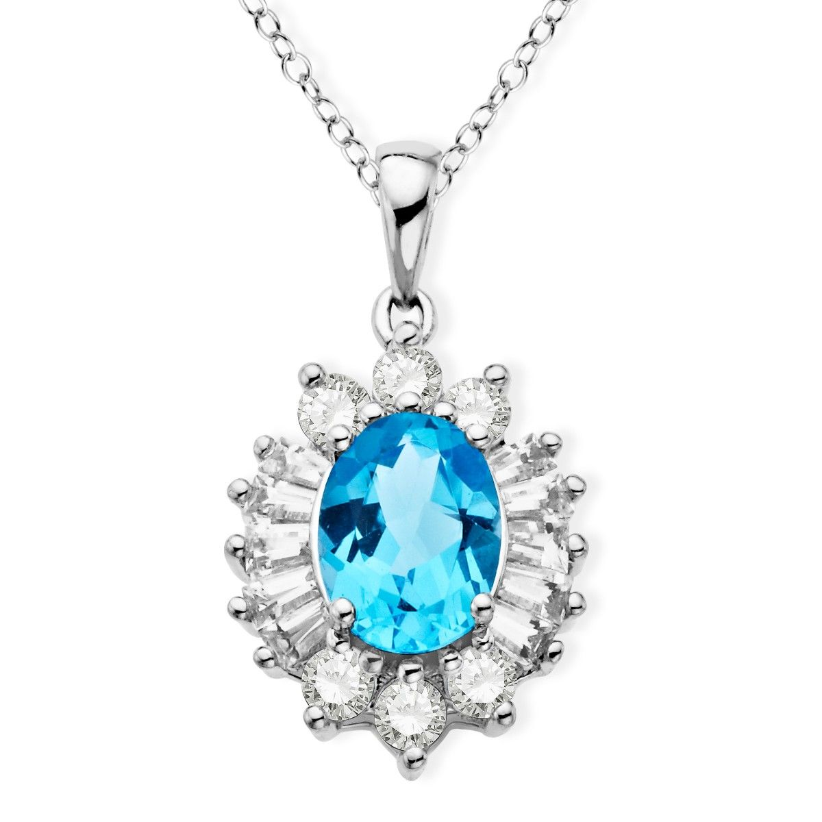 1 5/8 ct Blue & White Topaz Pendant in Sterling Silver