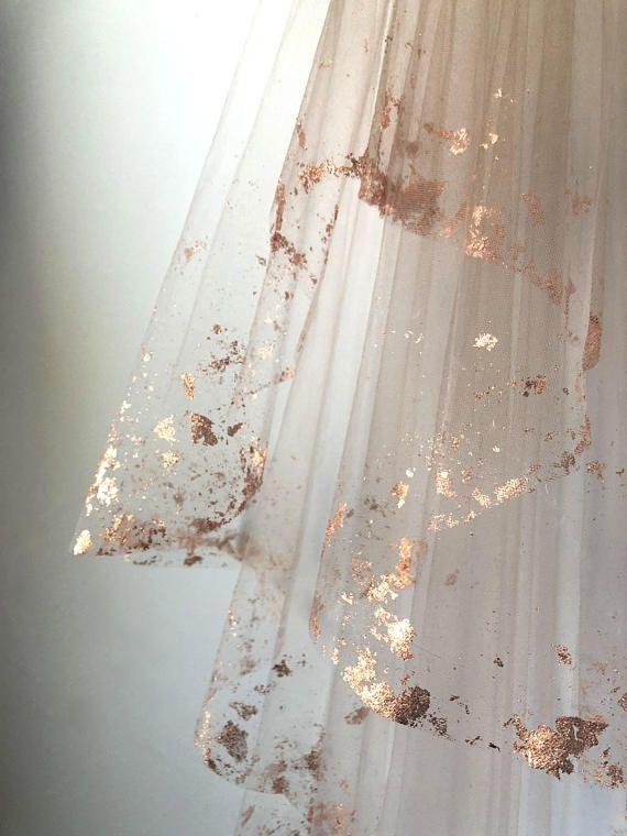 ROSE GOLD Metallic Flaked Bridal Veil - Hera by Cl