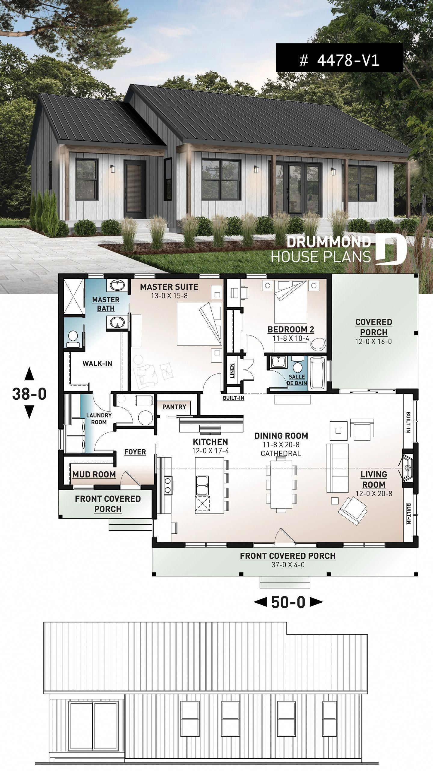 Discover The Plan 4478 V1 Beauford 2 Which Will Please You For Its 2 Bedrooms And For Its Ranch Styles Small Farmhouse Plans Ranch Style House Plans Ranch Style Homes