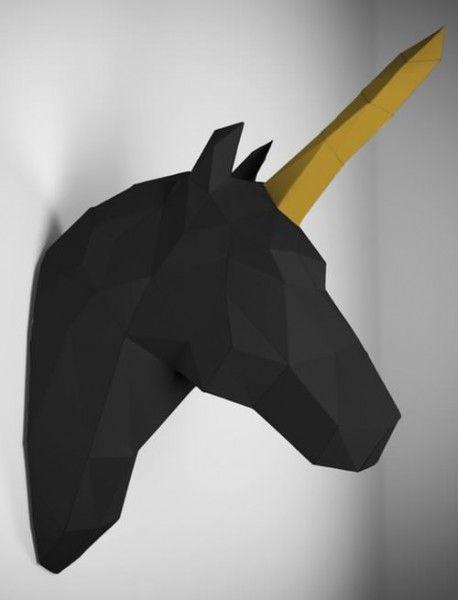 Einhorn Schwarz Gold Geometrische Origami Papier Tiere Einhorn