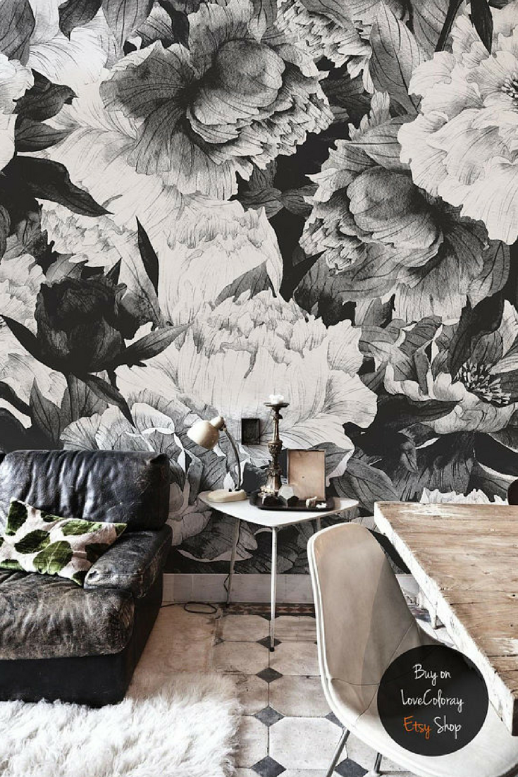 Grey Peony Removable Wallpaper Peonies Wall Mural Black And White Peony Wallpaper Peel And Stick Wal Peony Wallpaper Removable Wallpaper Temporary Wallpaper