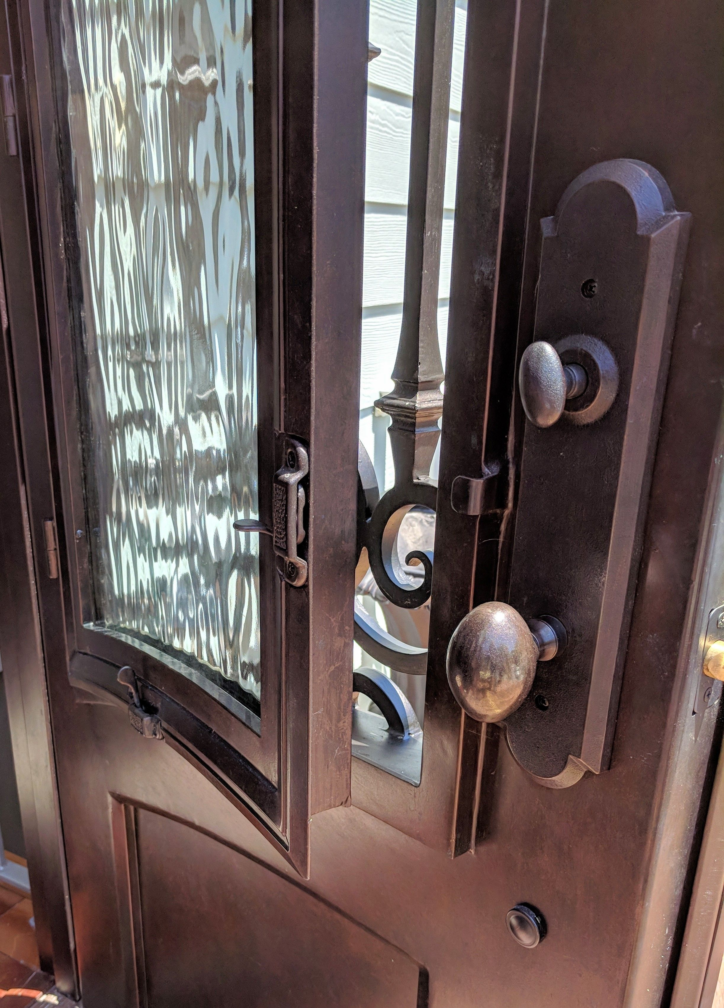 Did You Know That Most Of Our Wrought Iron Doors Have Functioning Windows Perfect For Letting In The Cr Iron Doors Wrought Iron Doors Wrought Iron Front Door