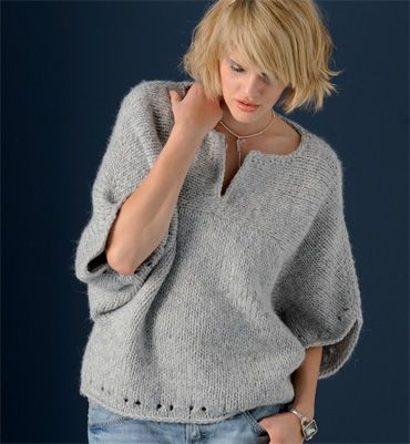modele pull over femme a tricoter