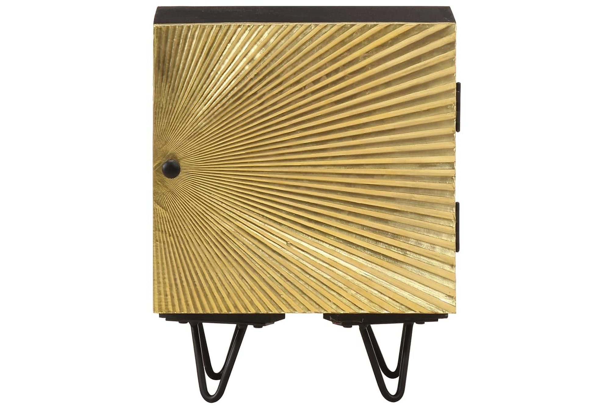 Bedside table with brass front 40x30x50 cm solid mango wood