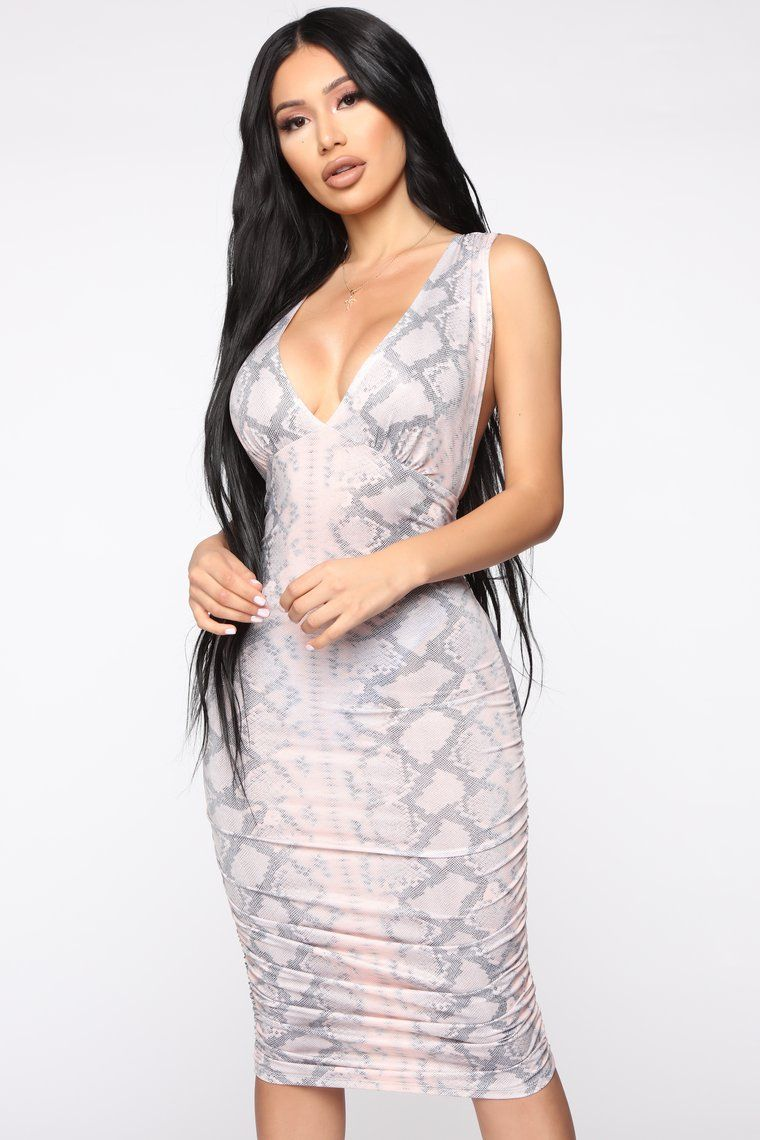 Watch Out Snake Print Midi Dress Dresses