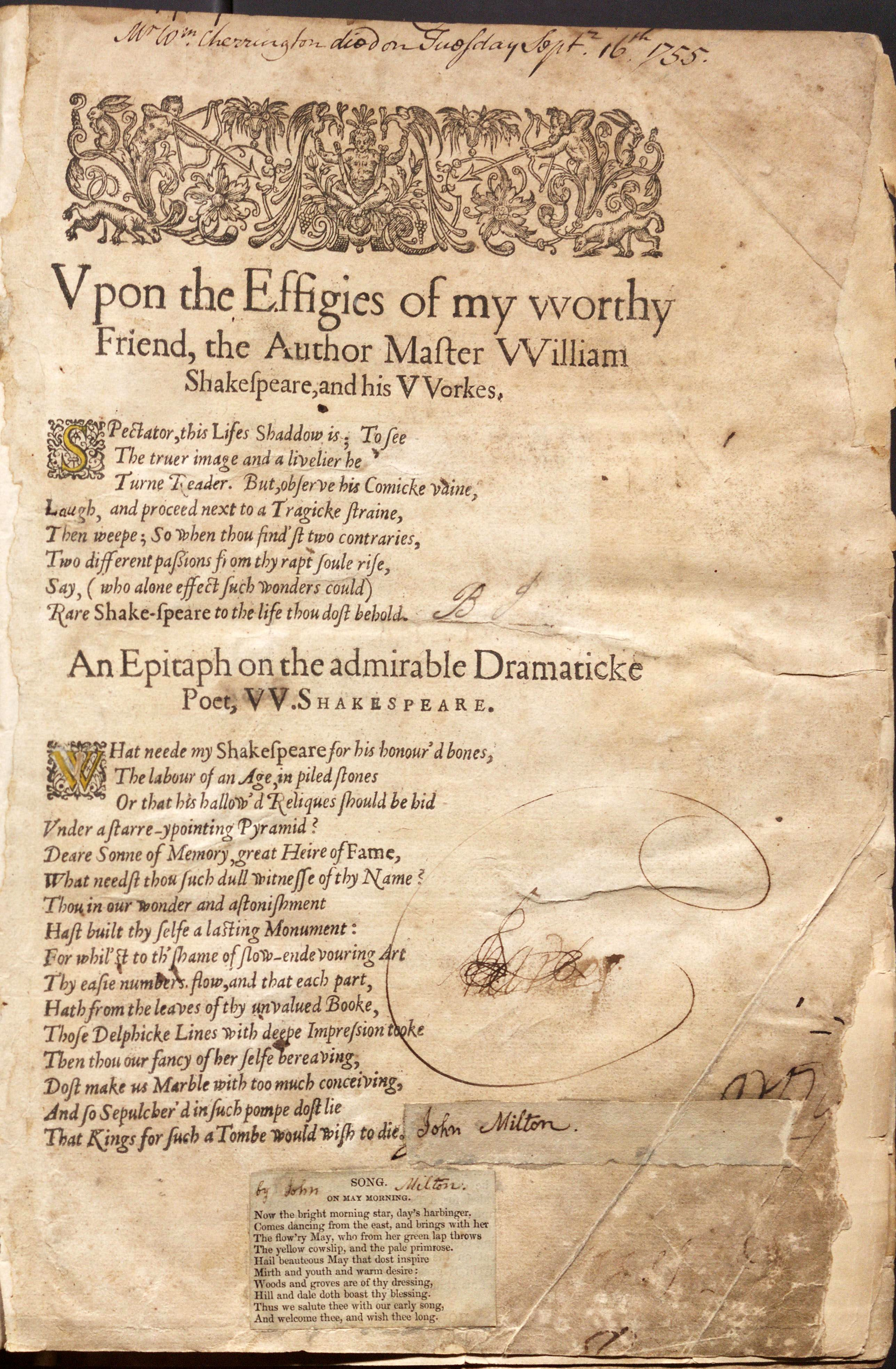 John Milton S Dedicatory Poem To Shakespeare Included In