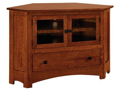 Mission Small Corner TV Stand With Reverse Panel Sides Custom Built By Fine Amish  Furniture Craftsmen And Offered By Weaver Furniture Sales A Northern ...