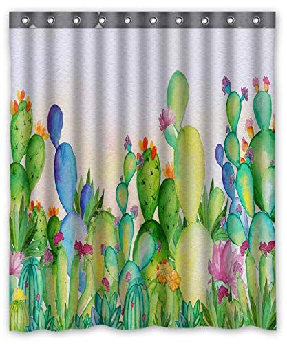 Photo of $16.99 FMSHPON Watercolor Cactus and Flowers Shower Curtain