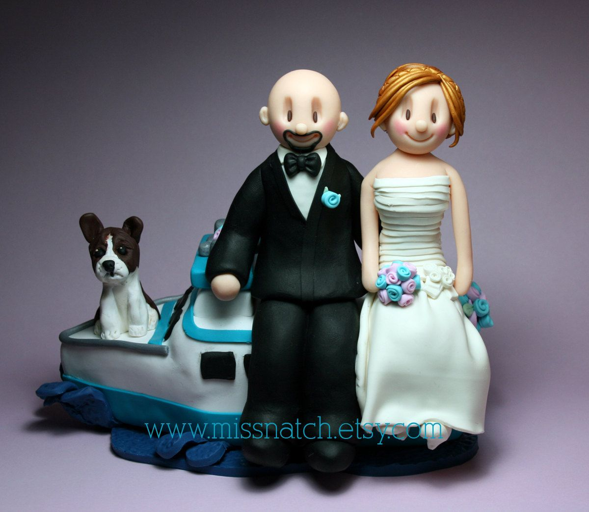 Boat Yacht Turquoise Blush Pink Wedding Cake Topper by www.missnatch.etsy.com