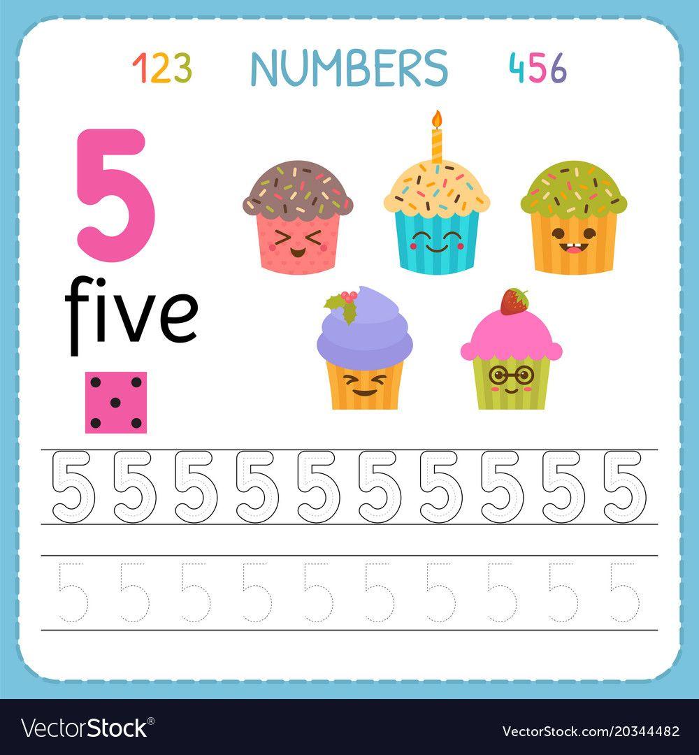 Numbers Tracing Worksheet For Preschool And Kindergarten Writing Number Five Exercises For Kids Ma Preschool Math Games Mathematics Games Tracing Worksheets [ 1080 x 1000 Pixel ]