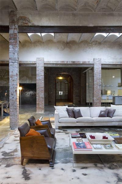 Loving the idea of converting an old factory, firehouse, or even a old church into a loft. Very creative!