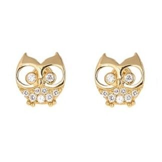 Wise Owl Earrings For S In 14k Gold With On Backs From The Jewelry Vine