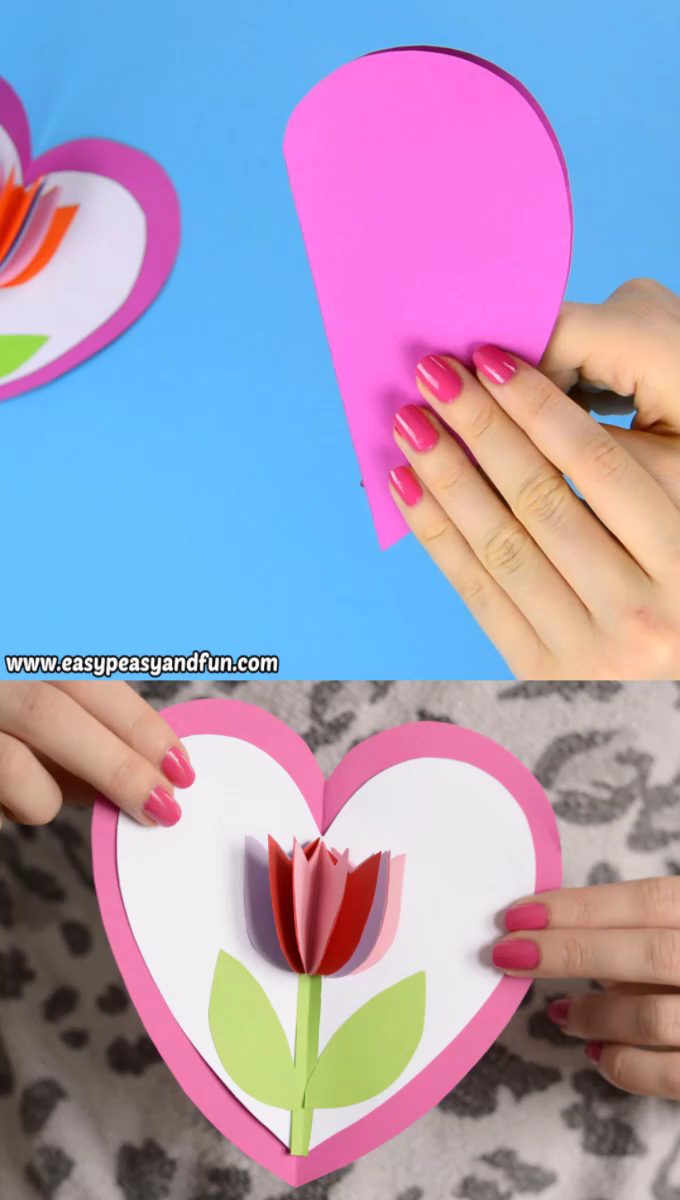 Tulip In A Heart Card Mother S Day Craft For Kids Video Easy Mother S Day Crafts Mothers Day Crafts For Kids Mother S Day Diy