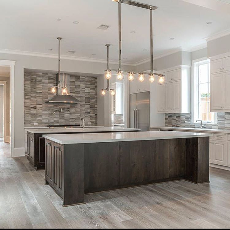 "Oak Cabinets Kitchen Island Designs: ""We Love This Double Island Kitchen!"" Huge Open Kitchen"