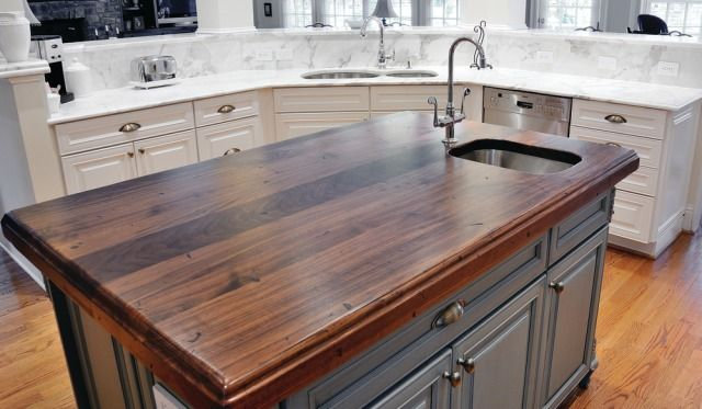 Wood Countertop With Tile Insert Rustic Countertops Freestanding Kitchen Island Island Countertops