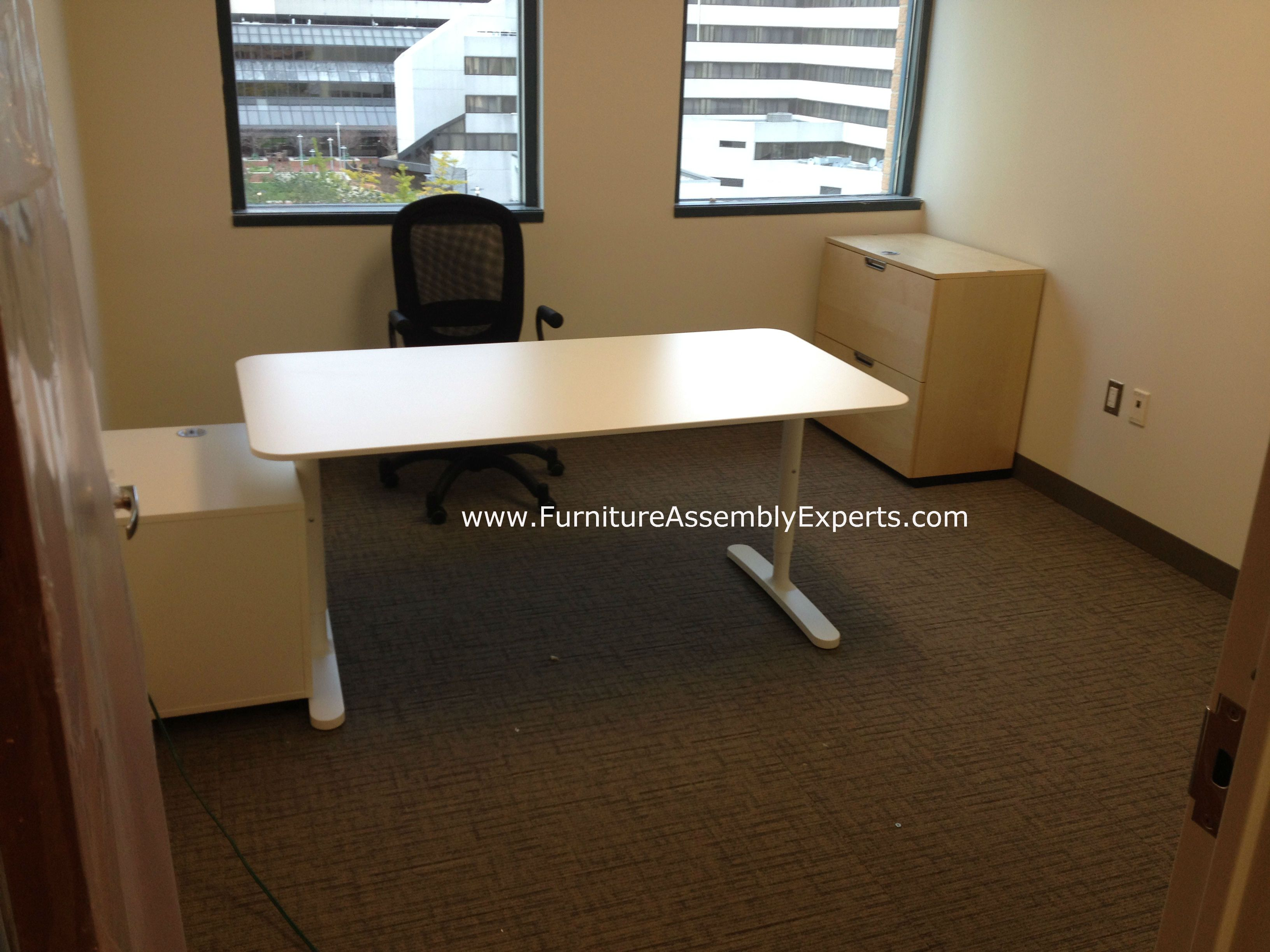 ikea bekant office desk and galant file cabinets assembled in