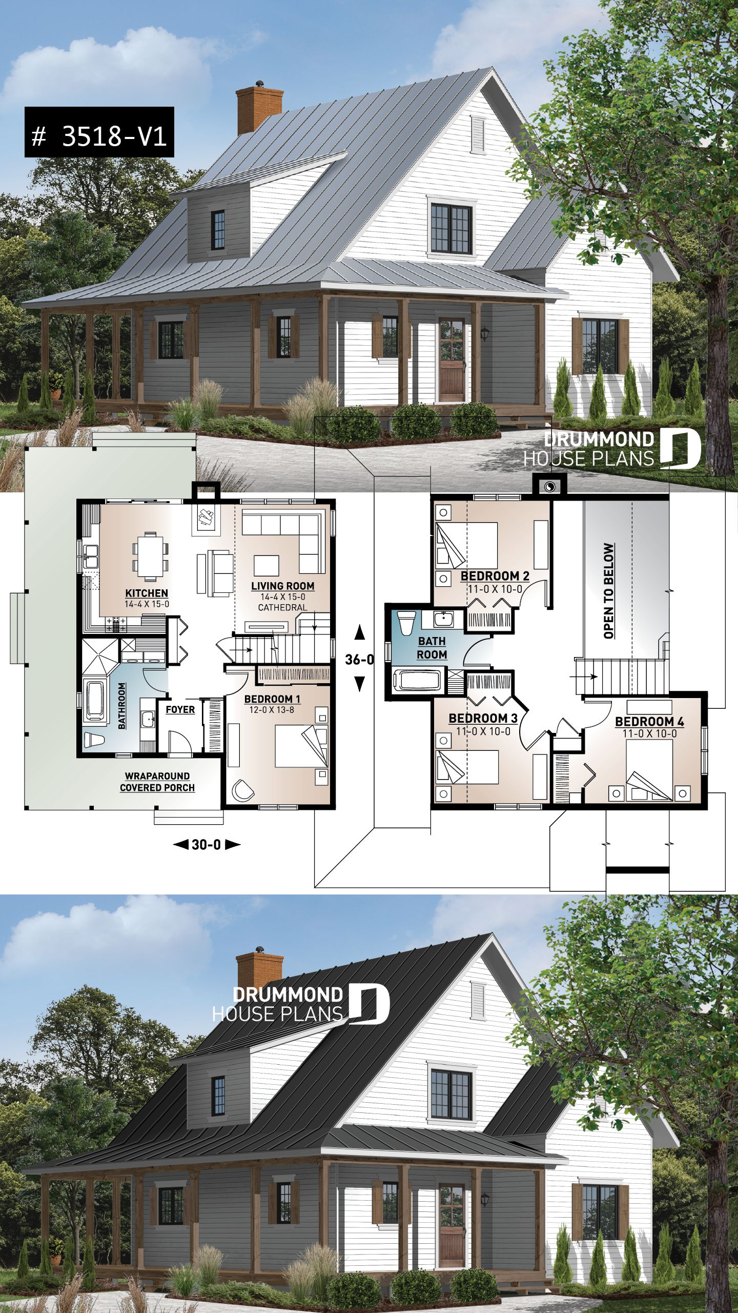 Chip and Joanna style farmhouse plan #smallmodernfarmhouseplans