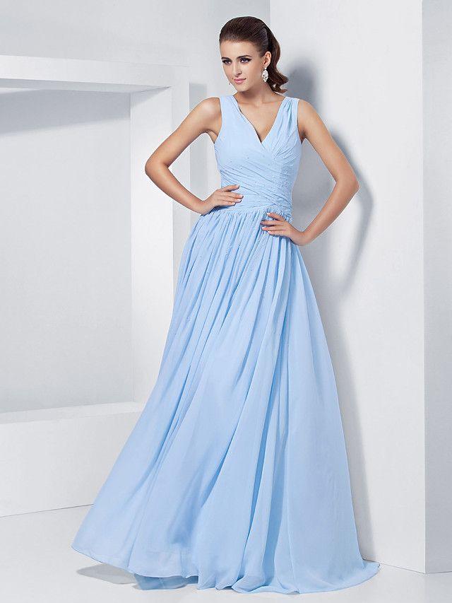 A-Line Princess V-neck Floor Length Chiffon Prom Formal Evening ...